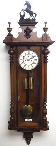 Fine Antique German Twin Walnut 8-Day Mantel Clock Vienna Striking Wall Clock (1 of 35)