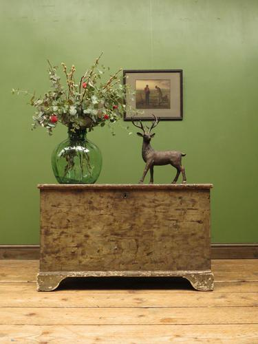 Large Antique Old Painted Green Distressed Pine Trunk Chest, Rustic Blanket Box (1 of 18)