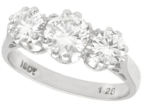 1.89ct Diamond & 18ct White Gold Trilogy Ring c.1950 (1 of 9)