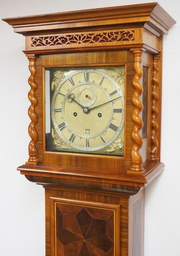 17THC Pin Wheel English Longcase Clock Pearl Oyster Veneer William & Mary Style Case 8-Day Striking Grandfather Clock (1 of 7)