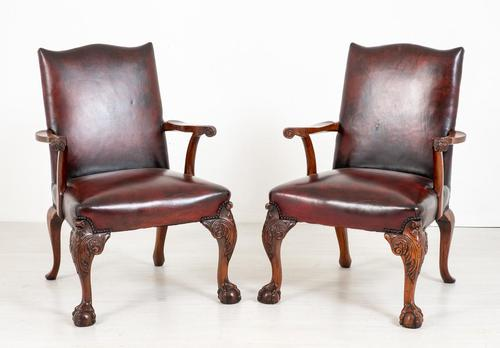 Pair of Chippendale Style Leather Gainsborough Chairs (1 of 8)