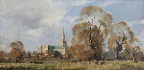 Oil Painting on Canvas 'Chichester Cathedral' Signed Edward Wesson (1 of 3)