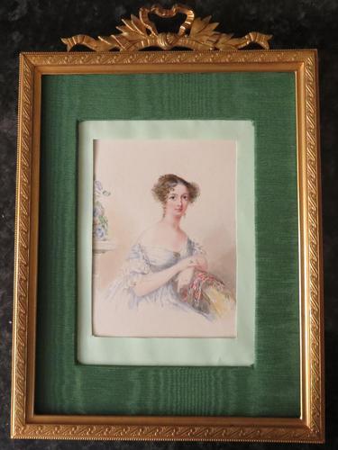 Miniature Portrait 10 3/8'' High Ormolu Frame c.1860 (1 of 5)