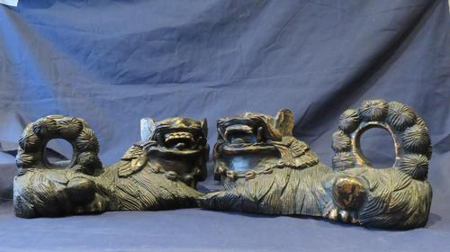 """16"""" Wide Antique Temple Dogs Fo Dogs Hand Carved T (1 of 9)"""