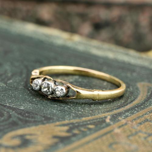 The Antique Three Diamond Bezel Set Ring (1 of 6)