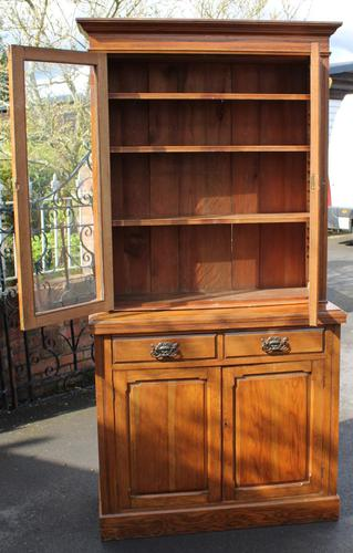 1900's Golden Oak Chiffonier Bookcase with Glazed Top (1 of 4)