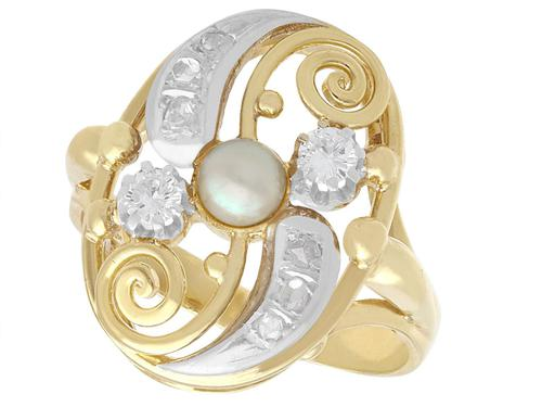 0.27ct Diamond & Pearl, 14ct Yellow Gold Dress Ring - Vintage c.1940 (1 of 9)