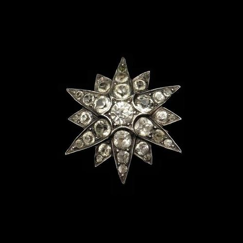 Antique Victorian Old Cut Paste Sterling Silver Star Brooch Pin (1 of 8)