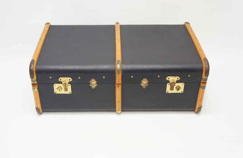 1930's Steamer Trunk, Blue, Wooden Straps - Complete, Superb Condition (1 of 14)