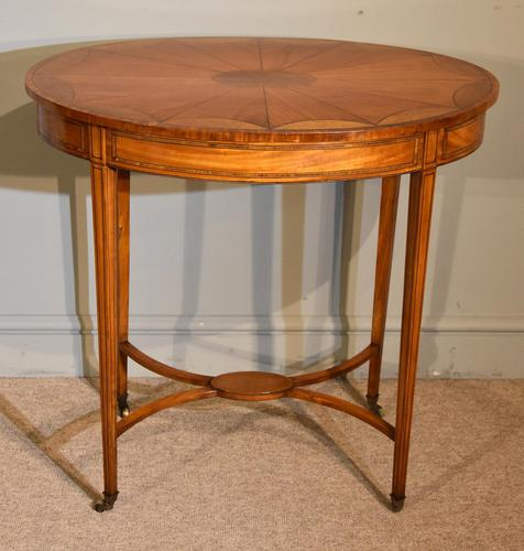 Late 19th Century Oval Satinwood Inlaid Table (1 of 6)