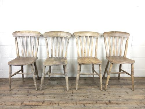 Set of Four Antique Farmhouse Kitchen Chairs (1 of 15)