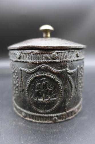 Very Good Mid 19th Century Lead Tobacco Box (1 of 5)