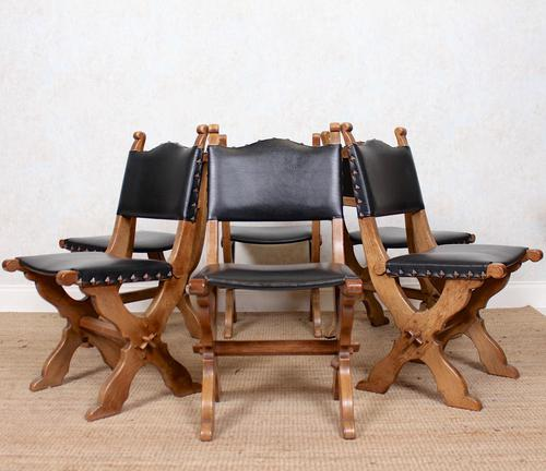 6 Oak Gothic Dining Chairs Carved (1 of 14)