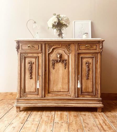 French Antique Oak Sideboard / Cupboard / Cabinet with Arabescato Marble (1 of 10)