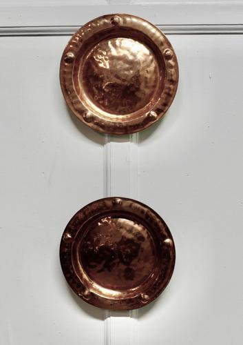 Pair of Arts & Crafts Beaten Copper Wall Plates by Lombard (1 of 5)