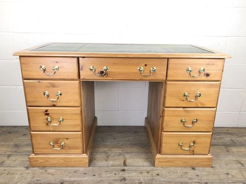 Late 20th Century Pine Pedestal Kneehole Desk (1 of 14)