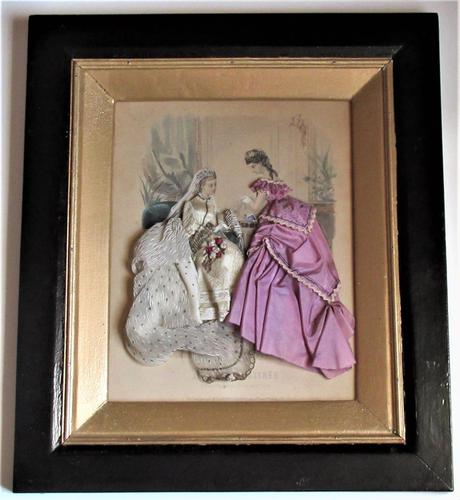 Antique Victorian 3-D fashion picture, textile and print, original frame, 1872 (1 of 10)