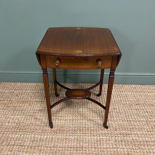 Small Edwardian Inlaid Mahogany Antique Sofa Table (1 of 9)