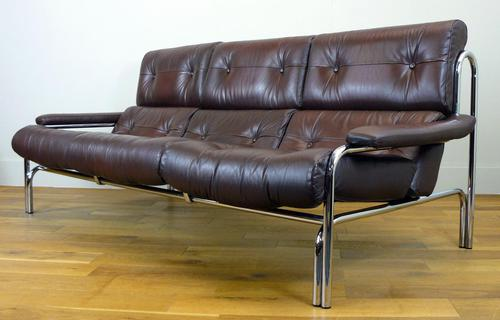 Pieff Alpha 3 Seater Chestnut Brown Leather Sofa (1 of 10)