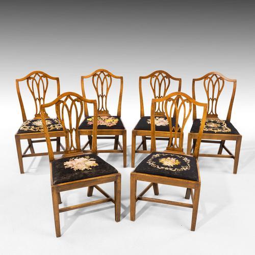 Very Good Set of Six George III Period Hepplewhite Mahogany Framed Single Chairs (1 of 7)