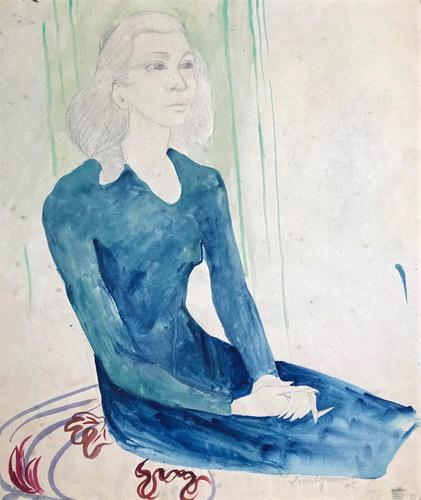 Original Watercolour 'Seated Figure' by Ernest Greenwood PPRWS - Signed & Dated 1945 (1 of 1)