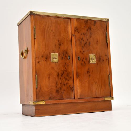 Antique Military Campaign Style Yew Wood Miniature Cabinet (1 of 7)