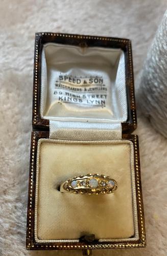 18ct. Yellow Gold Opal & Diamond 5 Stone Ring.1919 (1 of 6)
