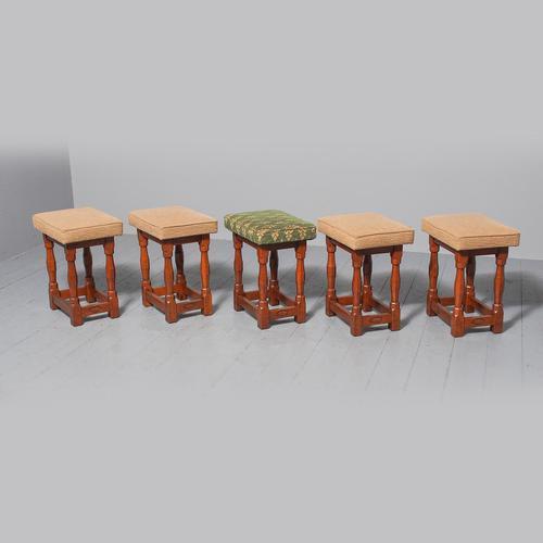 Set of 5 Oak Stools by David 'Oakleafman' Langstaff (1 of 7)