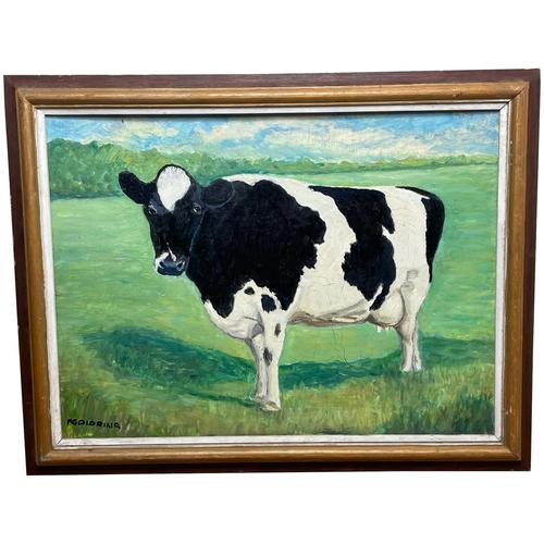 """20th Century Oil Painting Holstein Friesian Prized Cow """"Susan"""" Animal Portrait (1 of 20)"""