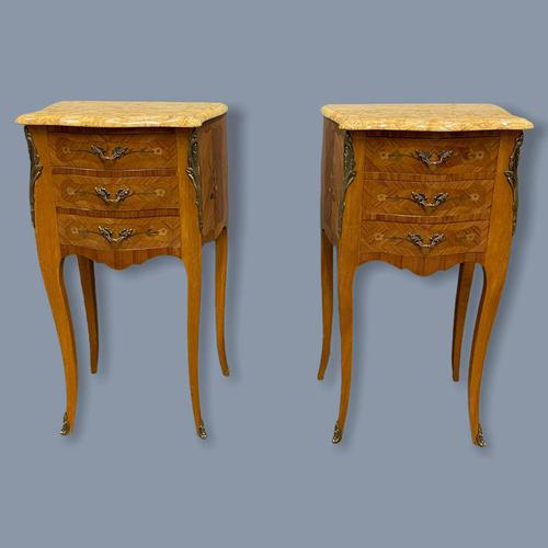 Pair of Marquetry & Marble Top Side Tables (1 of 8)