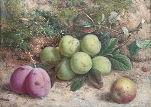 William Hough Watercolour Still Life of Plums & Greengages (1 of 2)