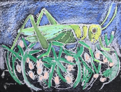 Original mixed media painting 'Grasshopper' by Toby Horne Shepherd 1909-1993. Signed c.1960 (1 of 2)