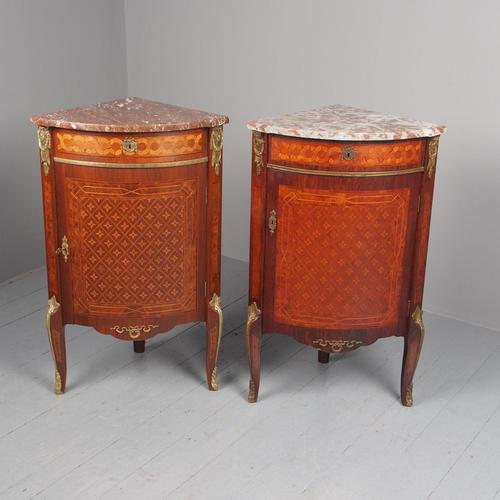 Matched Pair of French Inlaid Corner Cabinets (1 of 18)