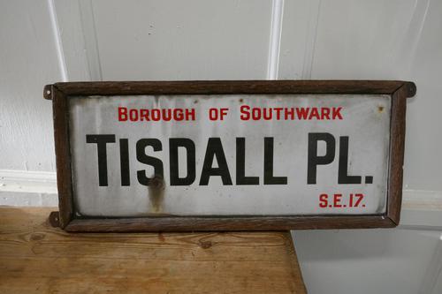 Framed Enamel Southwark Street Sign, Tisdall Place, London (1 of 4)