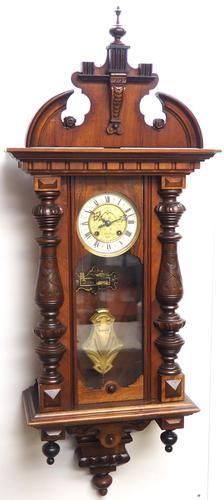 Wow! Antique German Spring Driven Striking 8-day Vienna Wall Clock by Gustav Becker (1 of 13)