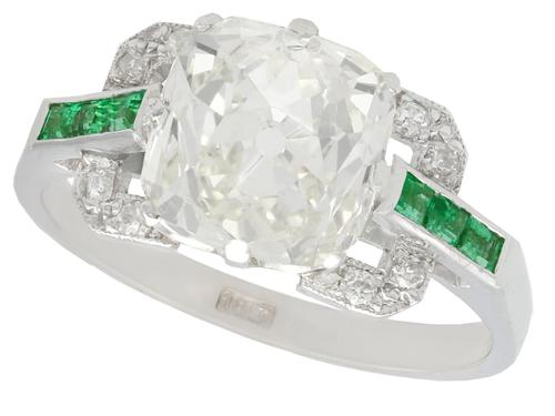 4.42ct Diamond and 0.22ct Emerald, 18ct White Gold Dress Ring c.1930 (1 of 9)