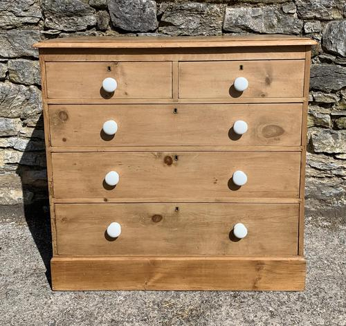 Antique Victorian Stripped Pine Chest of Drawers (1 of 15)