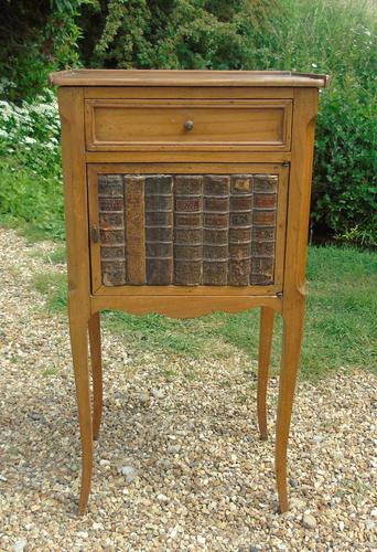 Antique French Fruitwood Bedside Cabinet Leather Book Fronts (1 of 8)