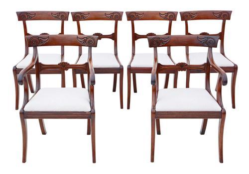 Set of 6 (4 +2) Regency Cuban Mahogany Dining Chairs 19th Century C1825 (1 of 15)