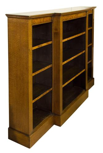 Oak Breakfront Open Bookcase with Adjustable Shelves (1 of 6)