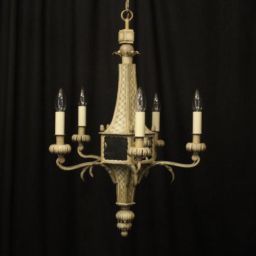 English 5 Light Polychrome Pagoda Chandelier (1 of 10)