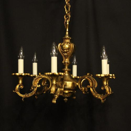 French 6 Light Gilded Bronze Antique Chandelier (1 of 10)