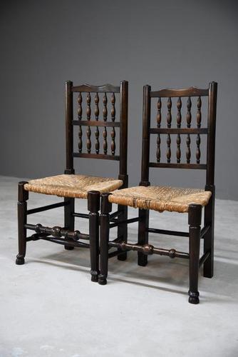 Pair Antique Oak & Rush Lancashire Chairs (1 of 11)