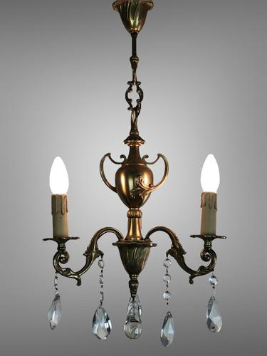 Gilt Bronze Chandelier 3 Arm Ceiling Light with Crystal Droplets (1 of 8)