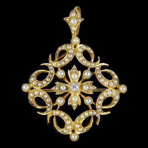 Antique Victorian Pearl Diamond Pendant Brooch 18ct Gold c.1900 (1 of 6)