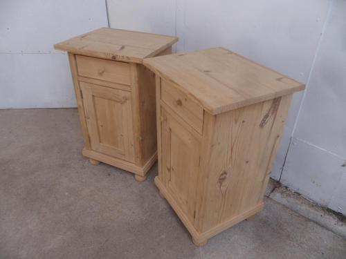 Superb Pair of Antique Pine Victorian Bedside Cabinets to wax / paint (1 of 8)