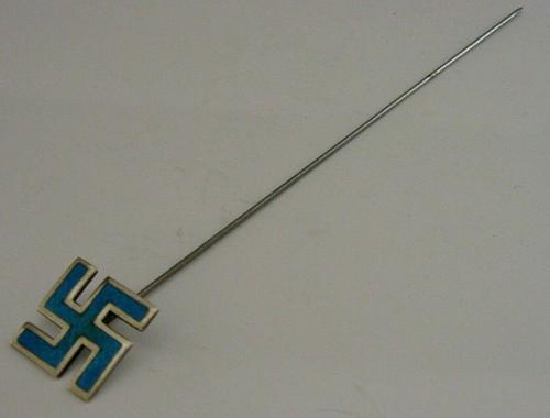 English Novelty Solid Sterling Silver Enamel Good Luck Hat Pin 1910 Antique (1 of 6)