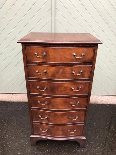 Antique Slim Mahogany Serpentine Chest of Drawers (1 of 8)