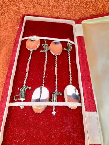 Set of 4 Unique Sterling Silver Dubai Spoon Set in Case, Stunning Filigree Work (1 of 9)