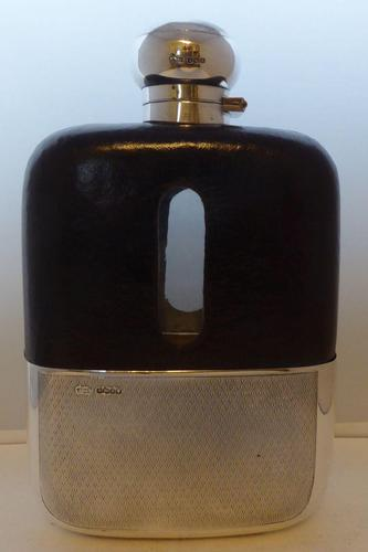 Shop Display James Dixon Solid Silver Leather Bound Glass Hip Flask 1 1/4 Pint (1 of 14)